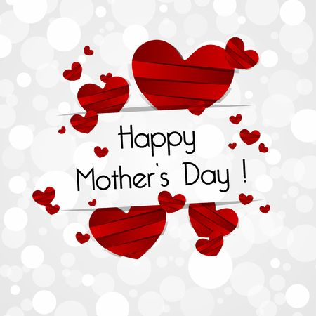 Creative Happy Mothers Day Card with Hearts vector illustration Çizim