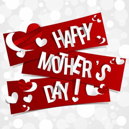 어머니의: 하트 벡터 일러스트와 함께 창조적 인 행복한 어머니의 날 카드