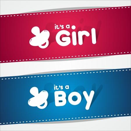 Bannières de naissance, c'est un garçon, une fille illustration vectorielle Vecteurs