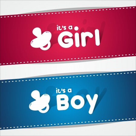 boy girl: Birth Banners, It s A Boy, Girl vector illustration