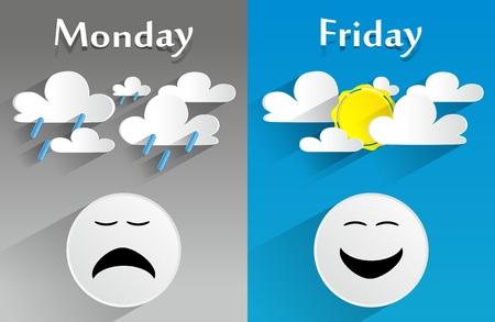 概念的な感じ月曜日金曜日のベクトル図
