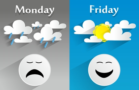 feelings and emotions: Conceptual Feeling Monday to Friday vector illustration