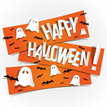 Happy Halloween card With Bats And Ghosts On Orange Banners vector illustration Çizim