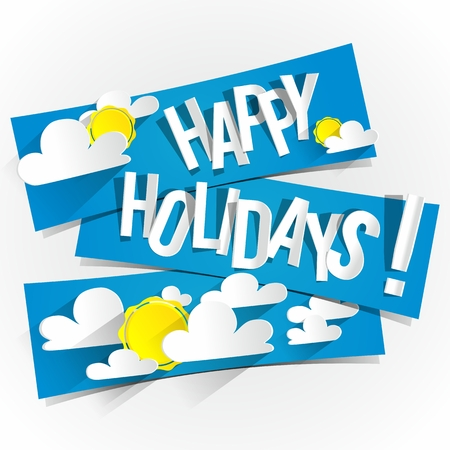 Happy Summer Holidays With Sun And Clouds On Blue Banners vector illustration Vector