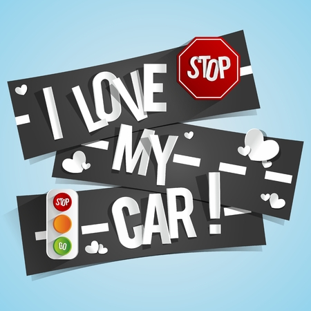 I Love My Car Banners vector illustration Vector