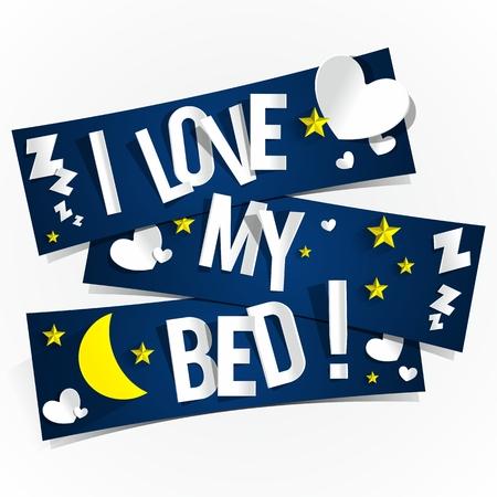 mujer acostada en cama: Amo a mi Banners Cama ilustraci�n vectorial Vectores