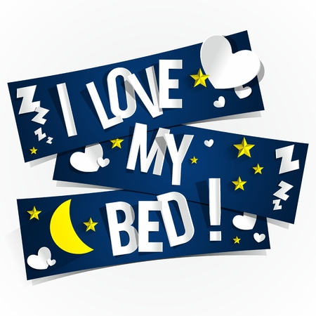marriage bed: I Love My Bed Banners vector illustration Illustration