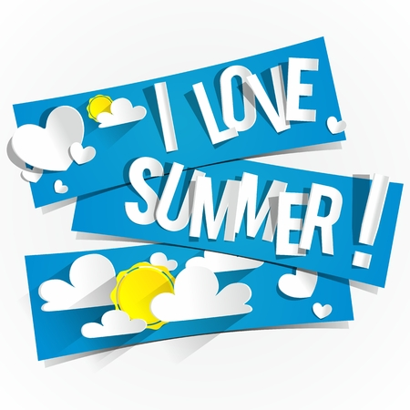 I Love Summer Banners With Clouds and Sun vector illustration Vector