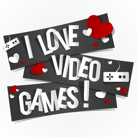 I Love Video Games Banners vector illustration Stock Vector - 26009265