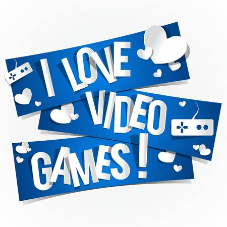 I Love Video Games Banners vector illustration Vector