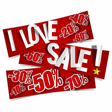 I Love Sale Banners vector illustration