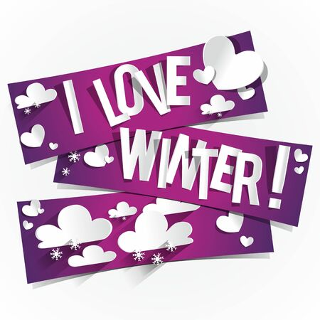 I Love Winter Banners vector illustration Vector