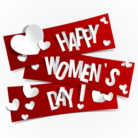women s day: Happy Women s Day Banners With Hearts vector illustration
