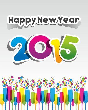Happy New Year 2015 Greeting Card vector illustration Çizim