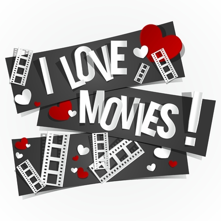love movies: I Love Movies Banners vector illustration