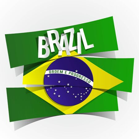 Creative Abstract Brazilian Flag illustration Vector