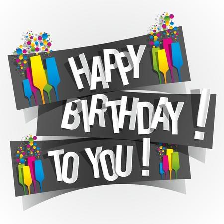 happiness: Feliz cumpleaños tarjetas de felicitación con los vidrios de Champán ilustración