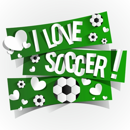 I Love Soccer Banners illustration Vector