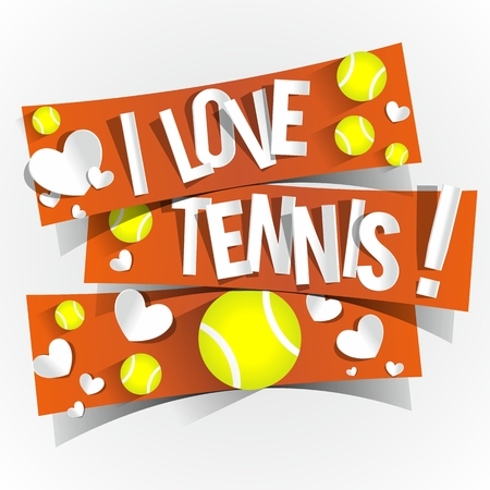 I Love Tennis Banners illustration Vector