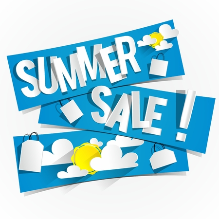 sun illustration: Hard Discount Summer Sale Banners With Clouds And Sun illustration Illustration