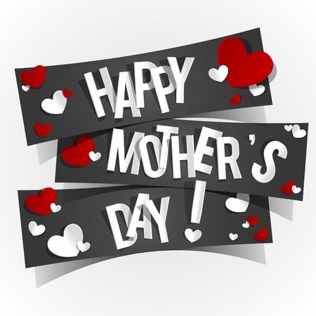mummie: Creative Happy Mother s kaart met hartjes illustratie Dag Stock Illustratie