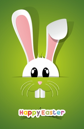 Happy Easter Greeting Card with Cartoon Rabbit illustration Vector