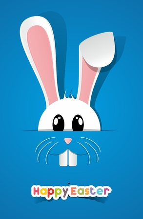 bunny rabbit: Happy Easter Greeting Card with Cartoon Rabbit illustration