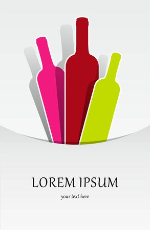 Creative Abstract Colorful Wine Bottles vector illustration Vector