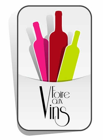 French Wines Event With Wine Bottles vector illustration