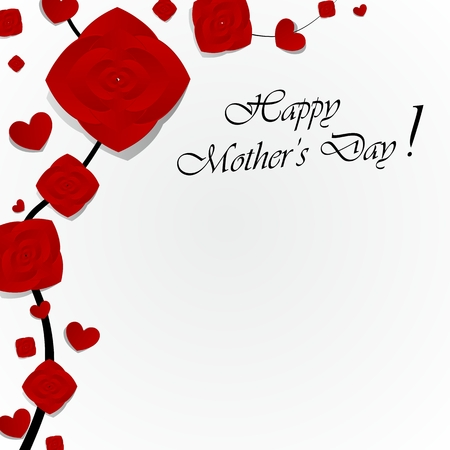Creative Happy Mother s Day Greeting Card with Hearts vector illustration Vector
