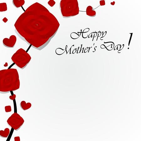 mummie: Creative Wenskaart Happy Mother's Day met hartjes vector illustratie