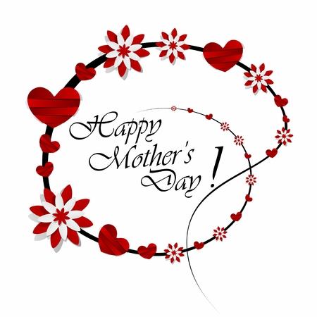 創造的な幸せな母の s 心の日グリーティング カード ベクトル イラスト