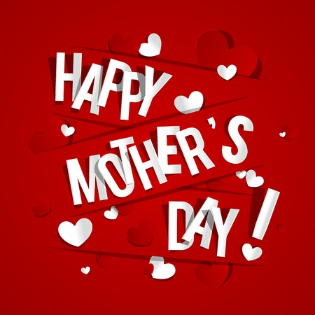 Creative Happy Mother s Day Greeting Card with Hearts vector illustration Çizim