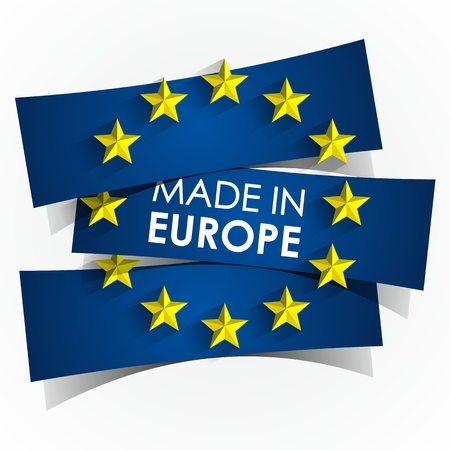in europe: Creative Abstract Made In Europe Badge vector illustration Illustration