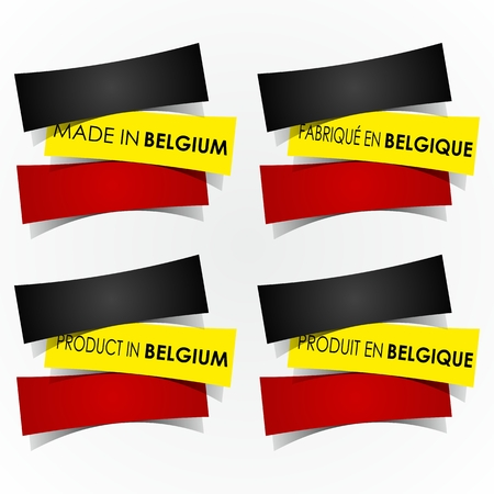 Abstract Made In Belgium Badges vector illustration Çizim
