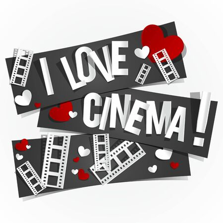 I Love Cinema Banners vector illustration Vector