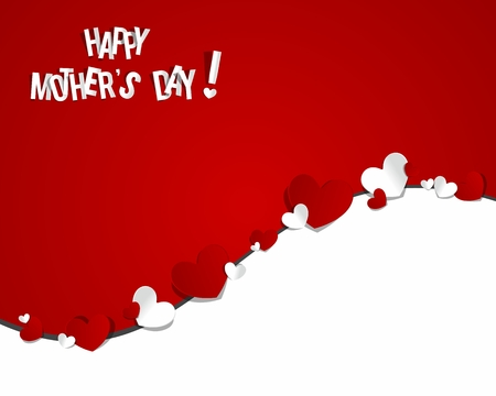 Happy Mother s Day with Hearts vector illustration