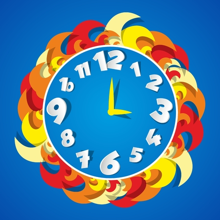 Creative Abstract Coloured Clock illustration Illustration