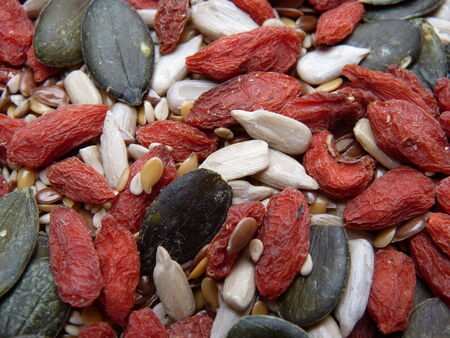 Goji and Green Pumpkin Seeds mix Close Up Background photo