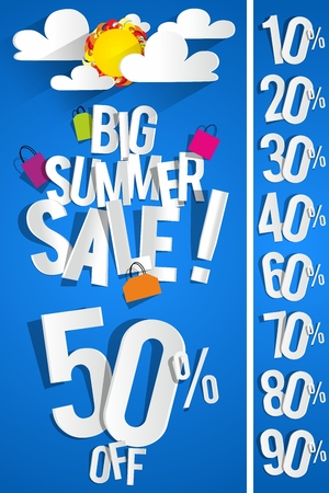 Summer Sale Background With Clouds And Sun vector illustration
