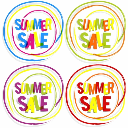 Creative Abstract Summer Sale Badges vector illustration