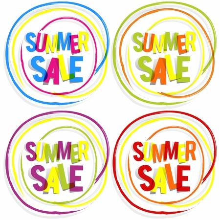 Creative Abstract Summer Sale Badges vector illustration Vector