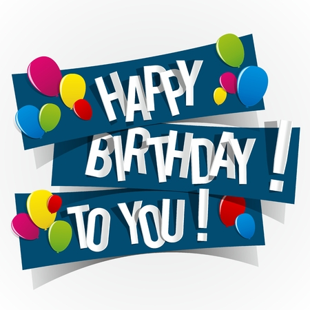Happy Birthday Card With Colored Balloons Vector Illustration