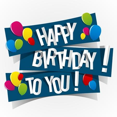 Z okazji urodzin karty z kolorowych ilustracji Balony Vector Ilustracja