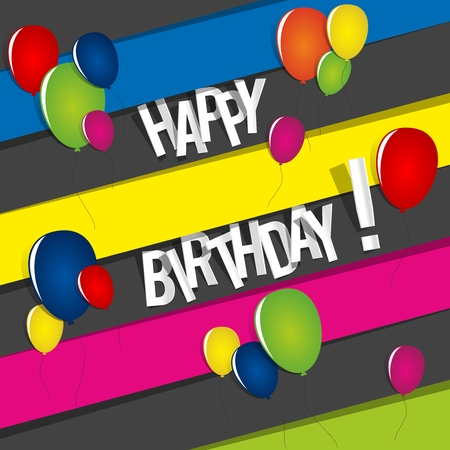 Happy Birthday Card With Colored Balloons Vector Illustration Vector