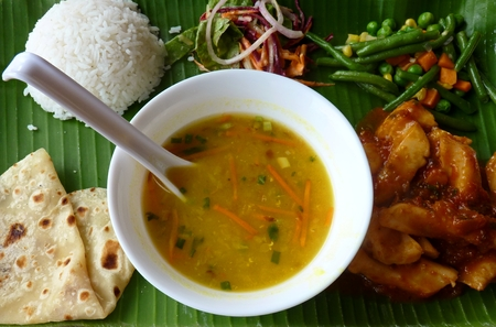 Traditional Mauritian Food, Mauritius Island 스톡 콘텐츠