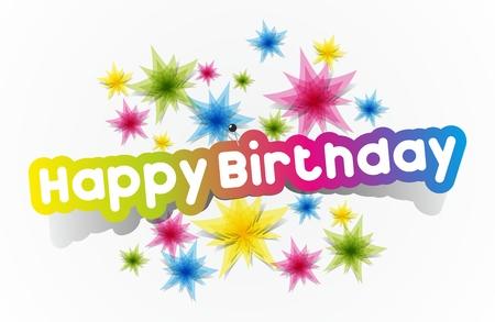Colorful Happy Birthday Greeting Cards Vector Illustration Çizim