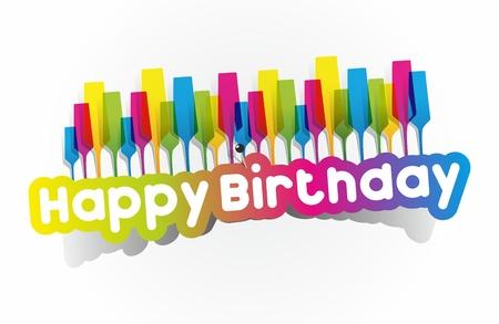 Colorful Happy Birthday Greeting Cards Vector Illustration Illustration