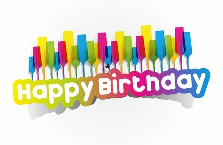 Colorful Happy Birthday Greeting Cards Vector Illustration Vectores