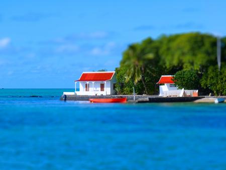 islet: Tilt Shift Of Red Handkerchief Islet At Mahebourg In Mauritius Island